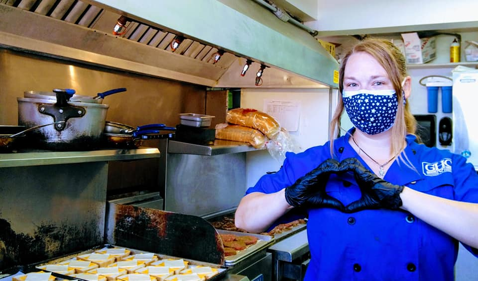 Blue Coat Chef in facemask